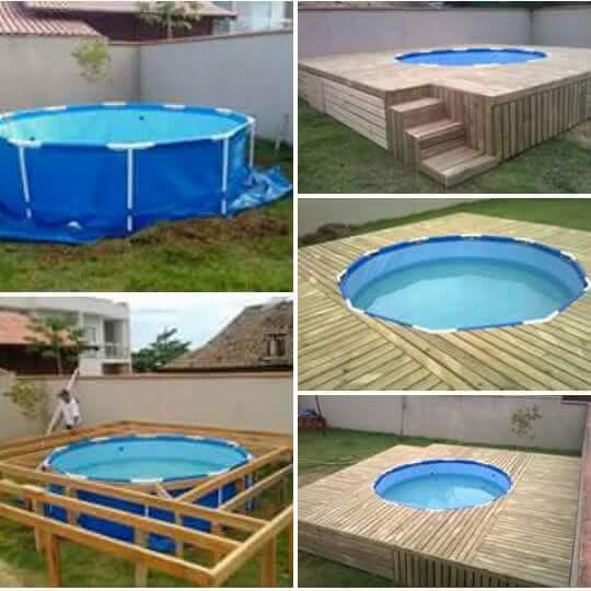 Deck para piscina de pl stico piso para piscina for Piscinas de plastico para jardin