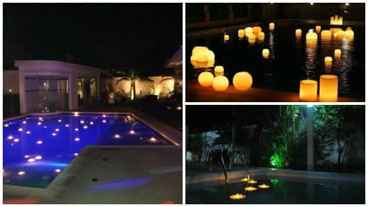 Piscinas decoradas pra festa decora o com velas - Velas para piscinas ...
