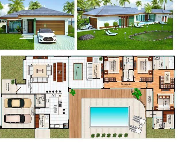 plantas de casas com piscina 28 modelos de casas t rreas ForPlantas Para Piscinas