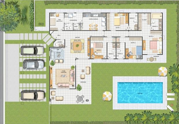 Plantas de casas com piscina 28 modelos de casas t rreas for Plantas para piscinas