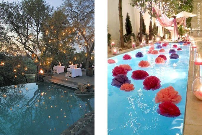 Piscinas decoradas pra festa decora o com velas for Velas para piscinas